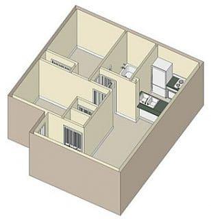 2 Bed / 1 Bath / 800 sq ft / 1,111